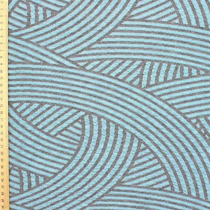 Jacquard knit fabric - grey and blue
