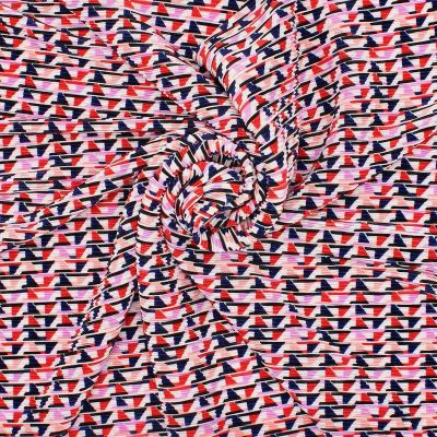 Plissé fabric with geometric patterns - multicolored