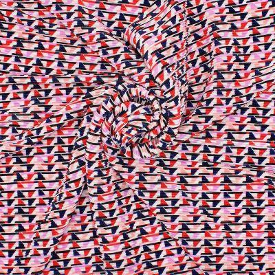 Tissu plissé motifs géométriques multicolores