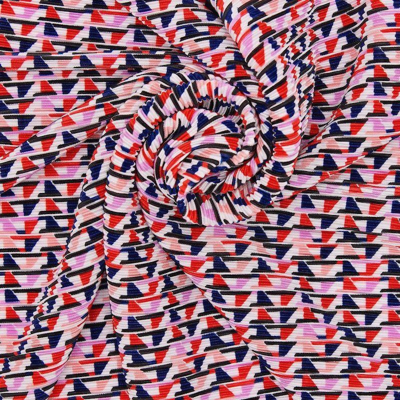 Plissé stof met geometrische motieven - kleurrijk