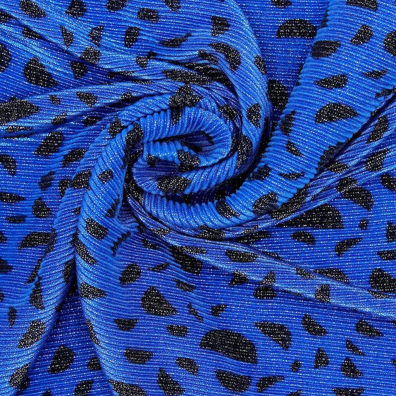 Plissé fabric with half moons - glitter blue