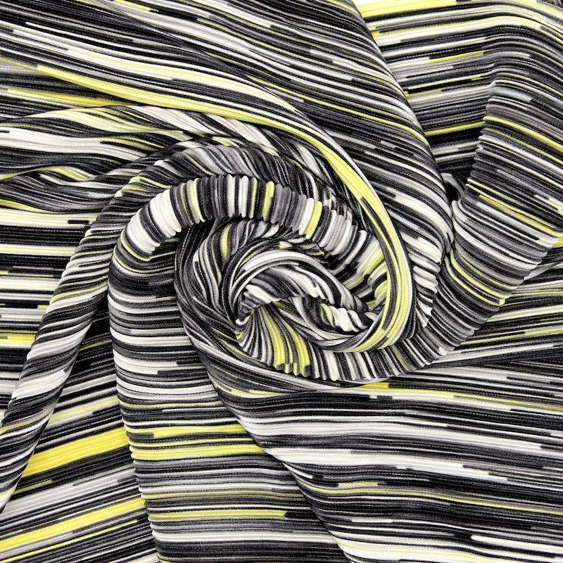 Tissu plissé rayures - gris/jaune