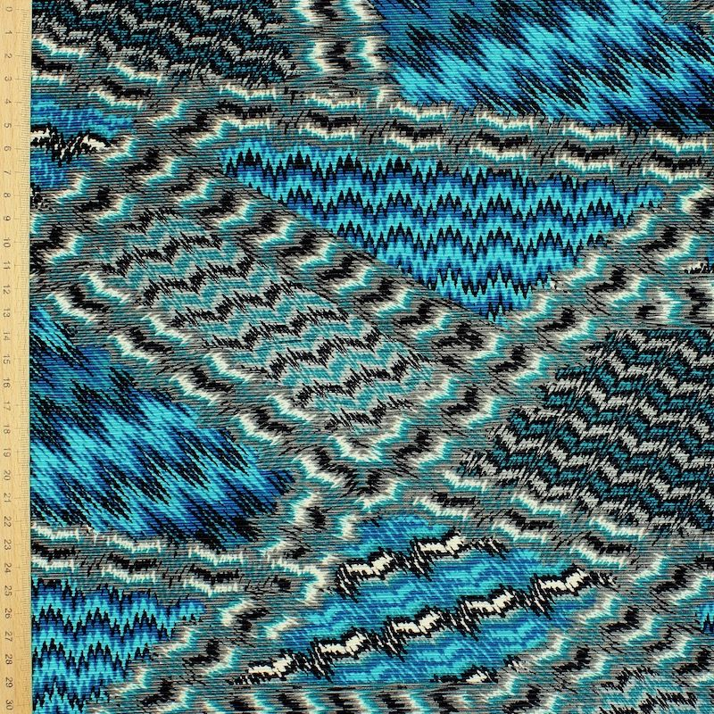 Plissé fabric in polyester - blue