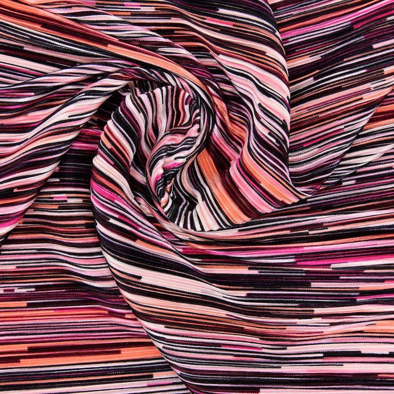 Tissu plissé rayures - rose/noir