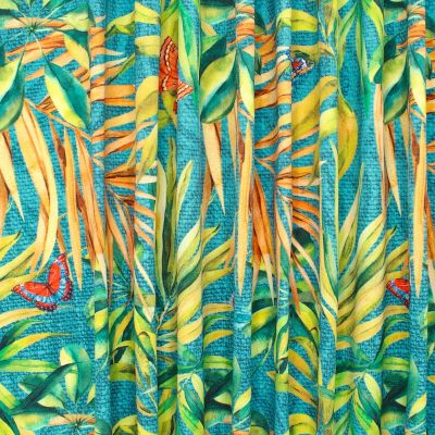 Outdoor fabric printed with butterflies and foliage