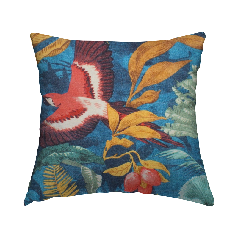 Outdoor fabric printed with tropical parrots - blue