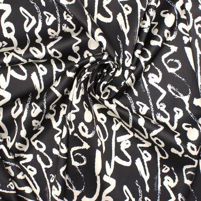 "Satin fabric with ""love"" pattern - black"