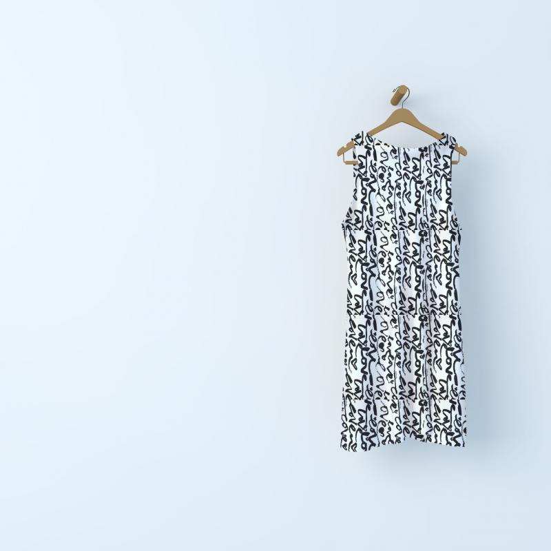 "Satin fabric with ""love"" pattern - cream"