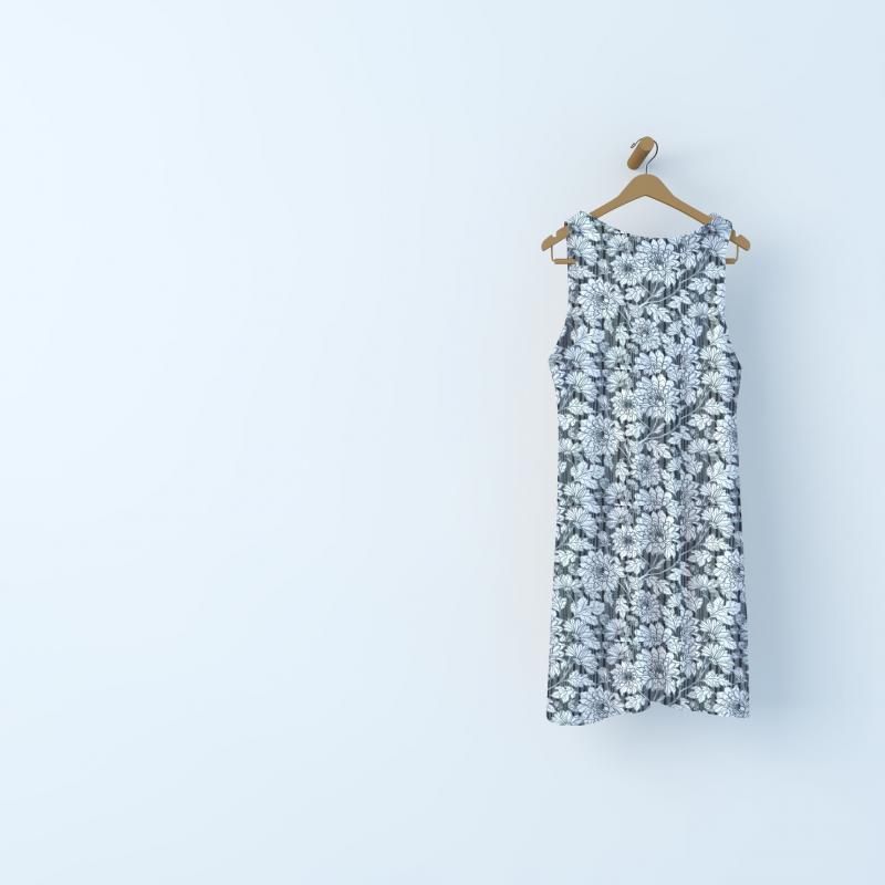 Voile polyester fleurs et rayure satin