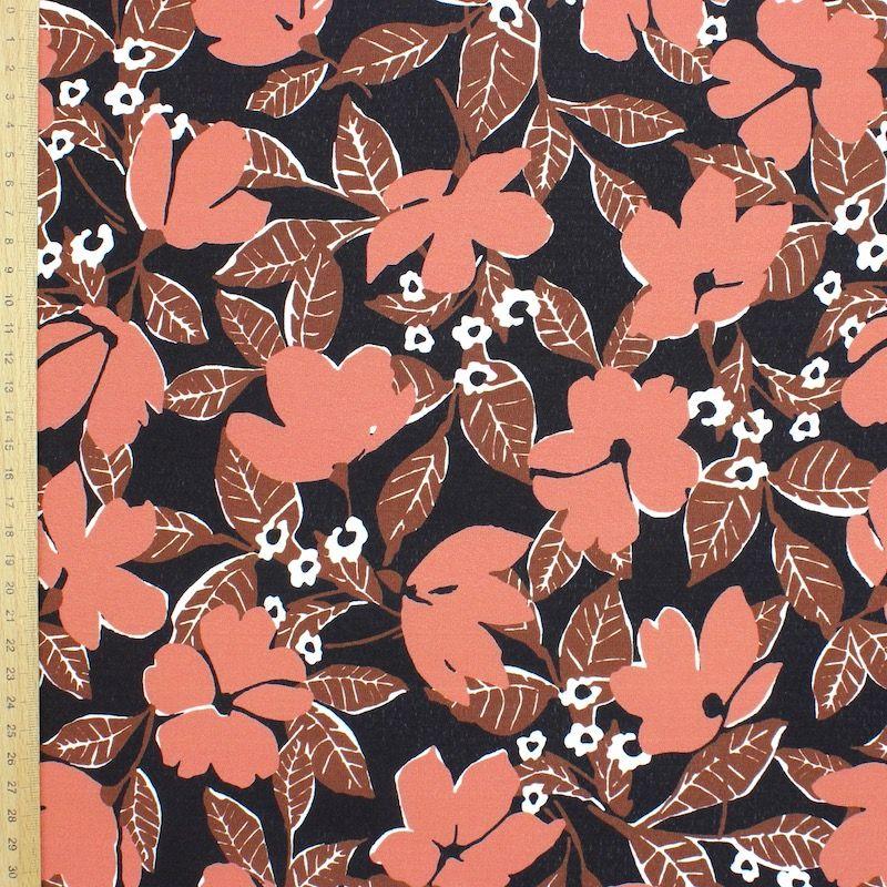 Tissu effet crêpe floral - brun
