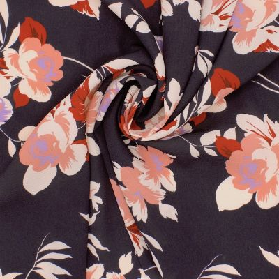 Fabric with flowers and crêpe effect - antracite/pink