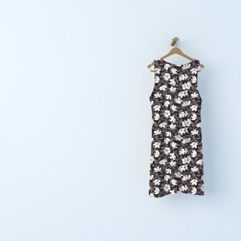Tissu effet crêpe floral - noir/crème