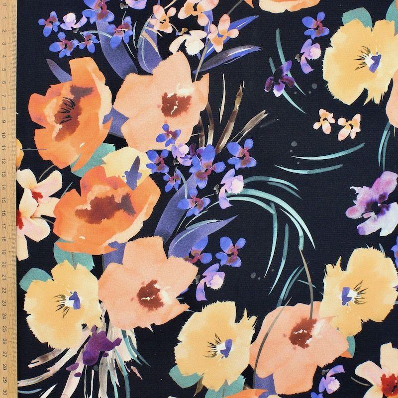 Satin polyester floral - noir