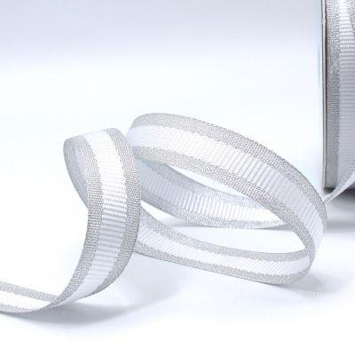 Zilveren biesband - witte streep