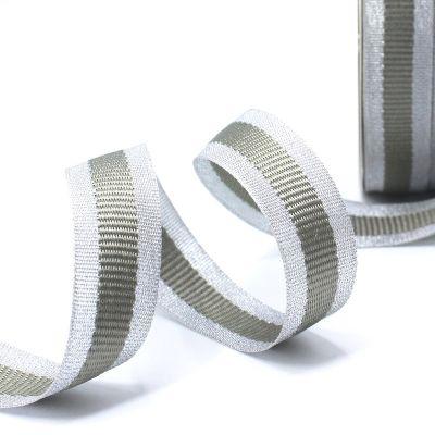 Zilveren biesband - grijze streep