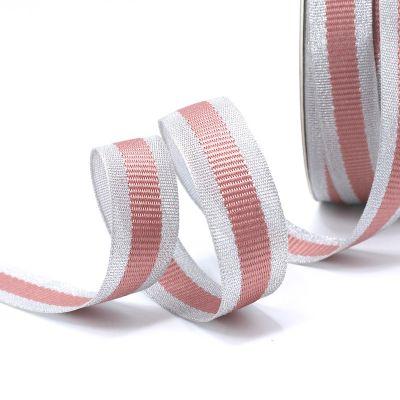 Zilveren biesband - roze streep