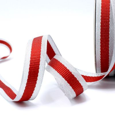 Zilveren biesband - rode streep