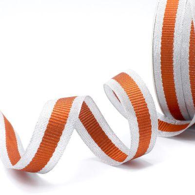Zilveren biesband - oranje streep