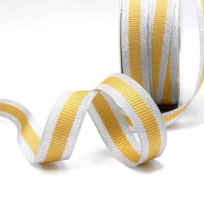Zilveren biesband - gele streep