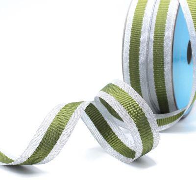 Zilveren biesband - kaki streep