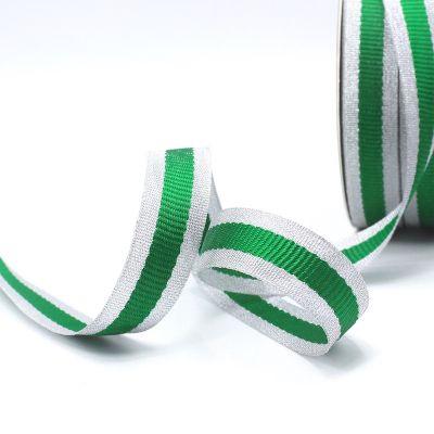 Zilveren biesband - groene streep