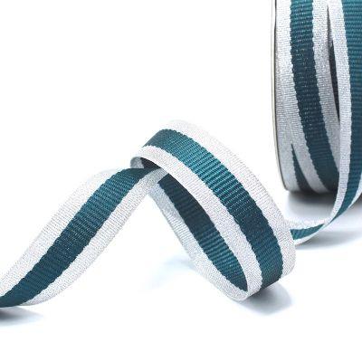 Zilveren biesband - pauwblauwe streep