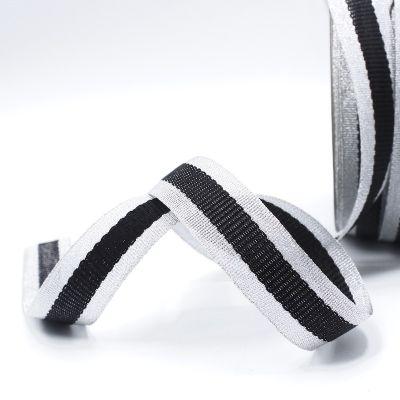 Zilveren biesband - zwarte streep