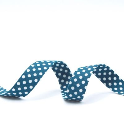 Ribbon with dots - peacock blue
