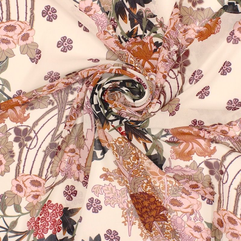 Tissu voile polyester imprimé - rouille