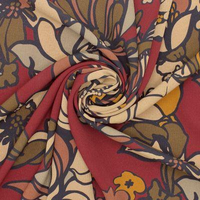 Tissu crêpe floral - multicolore