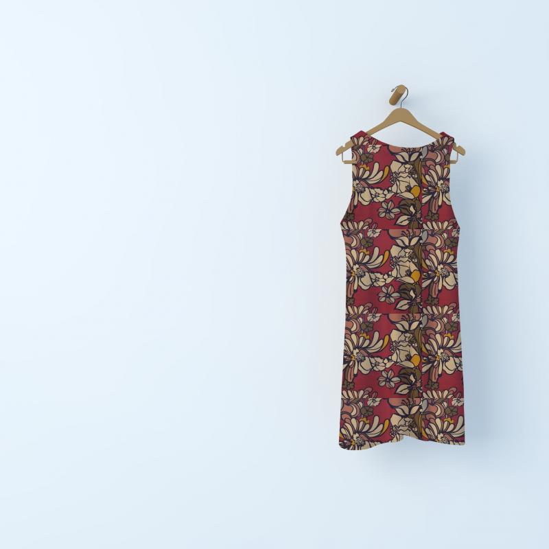 Tissu crêpe floral - bordeaux