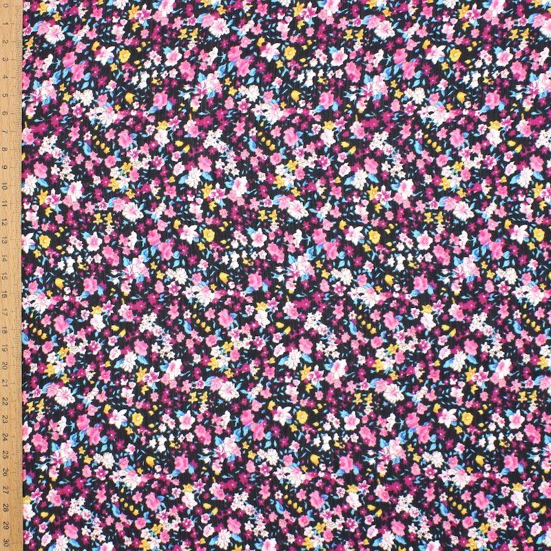 Sluier in polyester met bloemen - zwart/roos