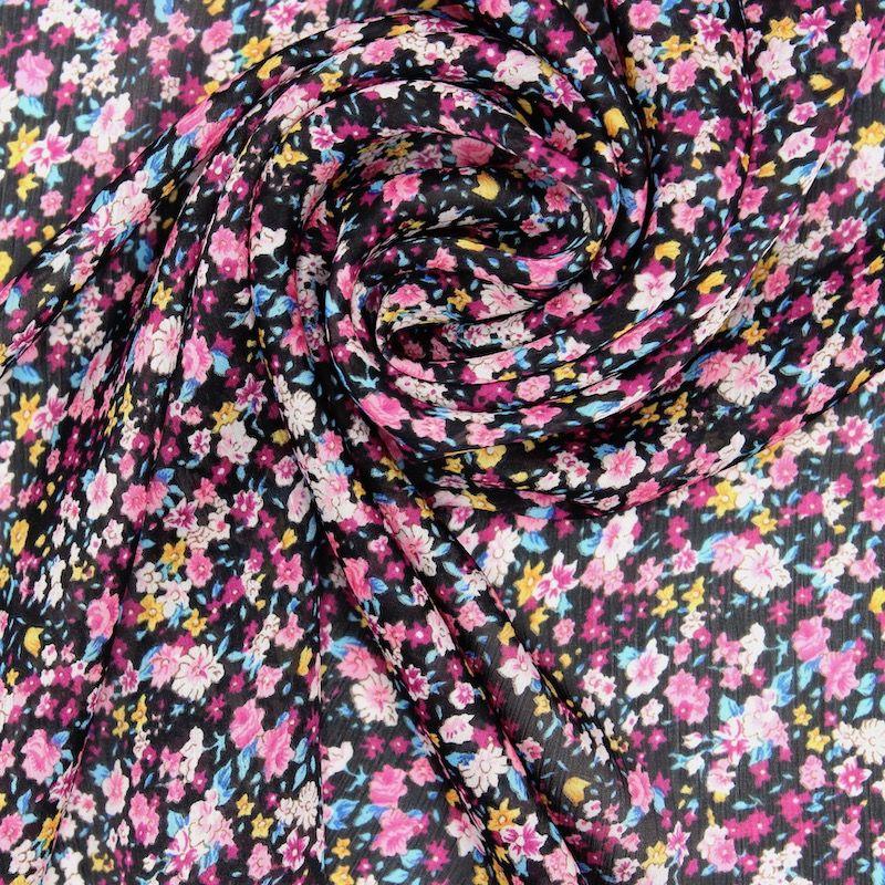 Tissu voile polyester fleurs - noir/rose