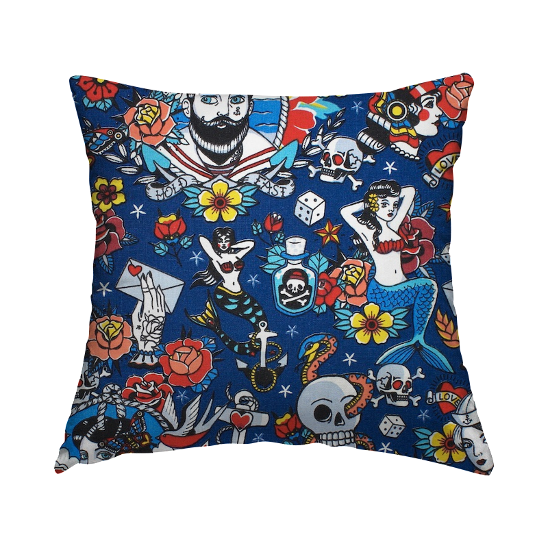 Cotton with pirates - blue