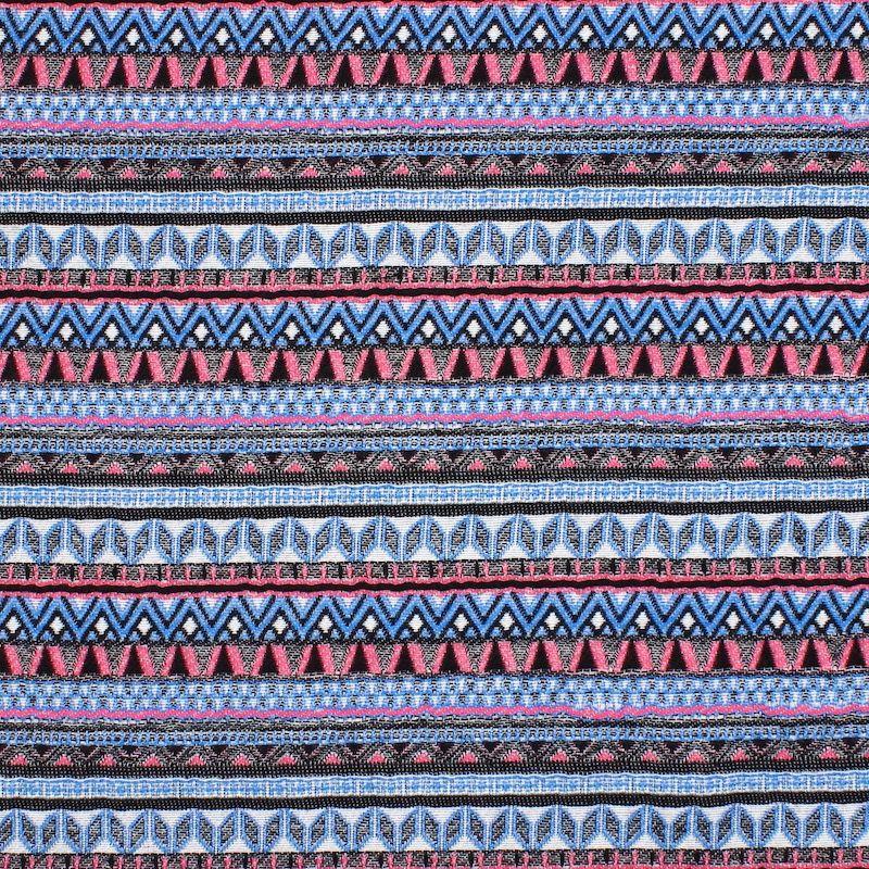 Jacquard fabric with geometric prints - pink / blue