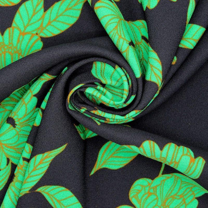 Tissu polyester fleurs - vert/noir