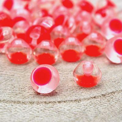 Bouton fantaisie rouge transparent