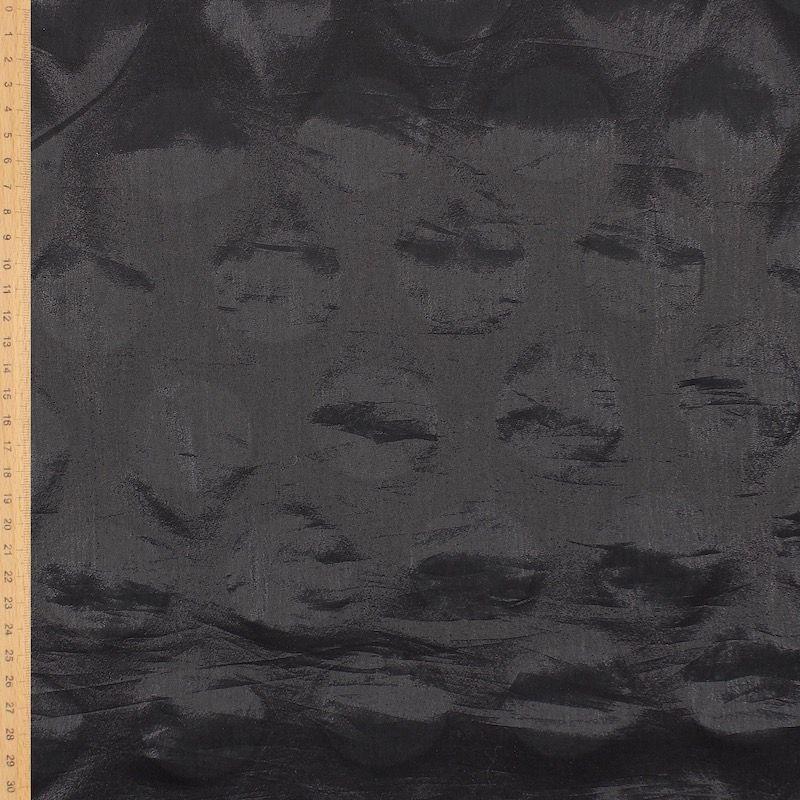 Tissu polyester  gros pois - noir