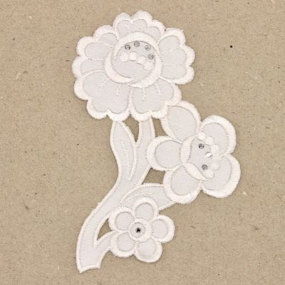 Embroidered flower and rhinestones