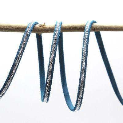 Spaghetti elastiek - blauw en zilver