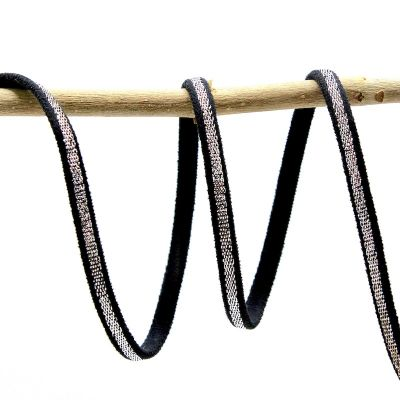 Spaghetti elastiek - zwart en zilver
