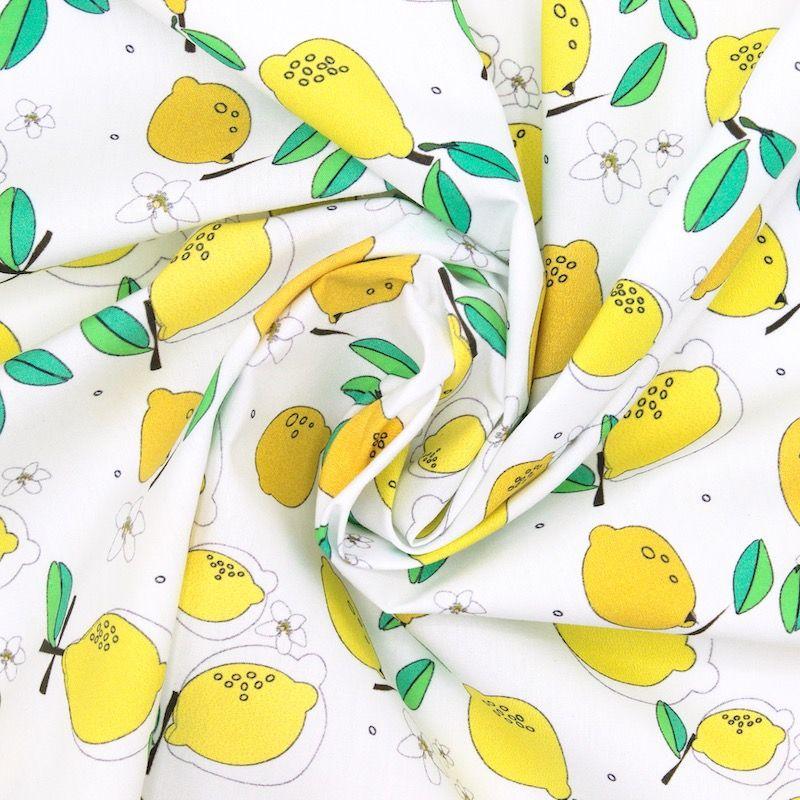 Popeline coton citron - blanc