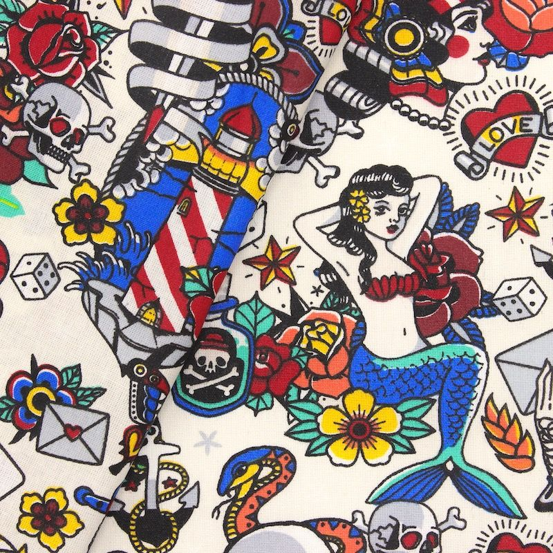Coated cotton with tattoo pattern - cream