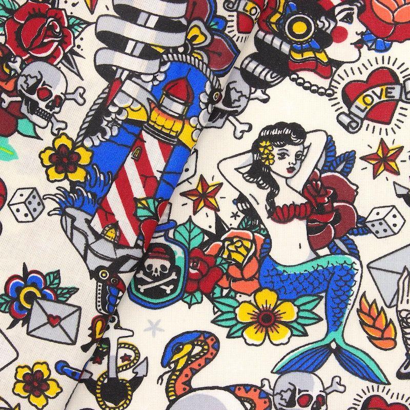 Coton enduit  motif tatouage - crème