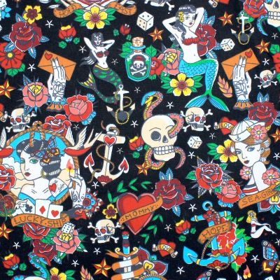 Coated cotton with tattoo pattern - black