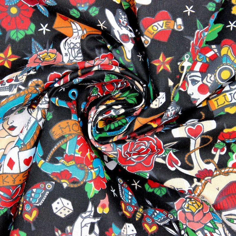 Coton enduit  motif tatouage - noir
