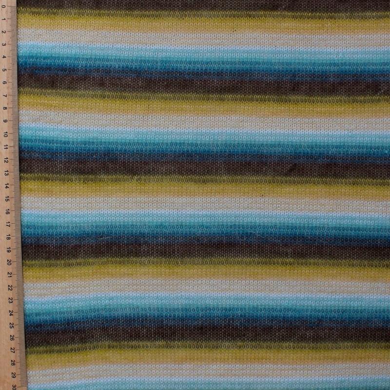 Tissu en maille légère à lignes jaunes, bleues et brunes