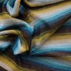 Blue , brown and yellow light knitwear fabric