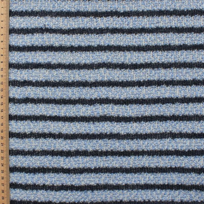 Blauw gestreepte gebreide stof zeer licht