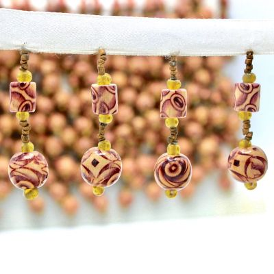 Braid trim with pearls and wood aspect - beige